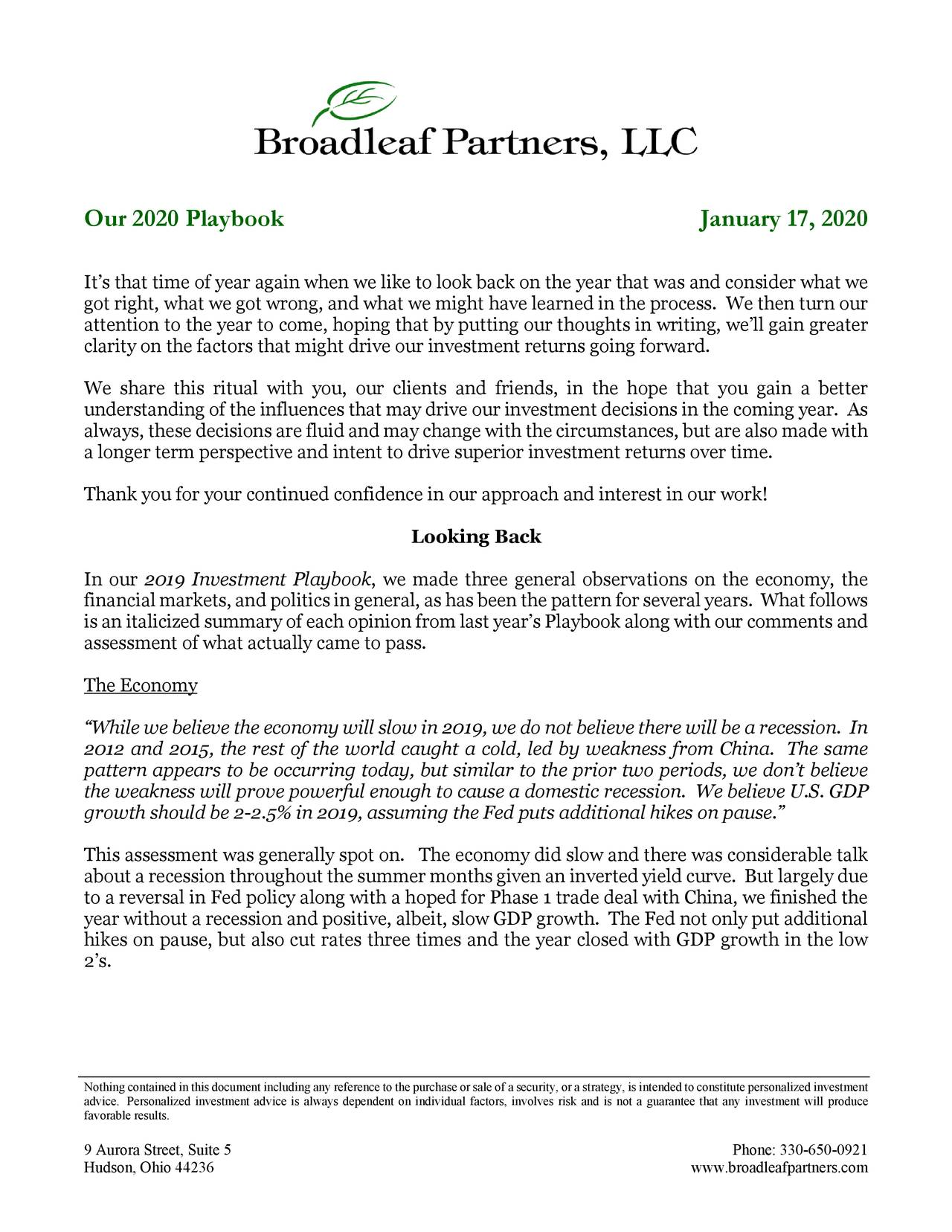 Broadleaf Partners 2020 Investment Playbook | Seeking Alpha