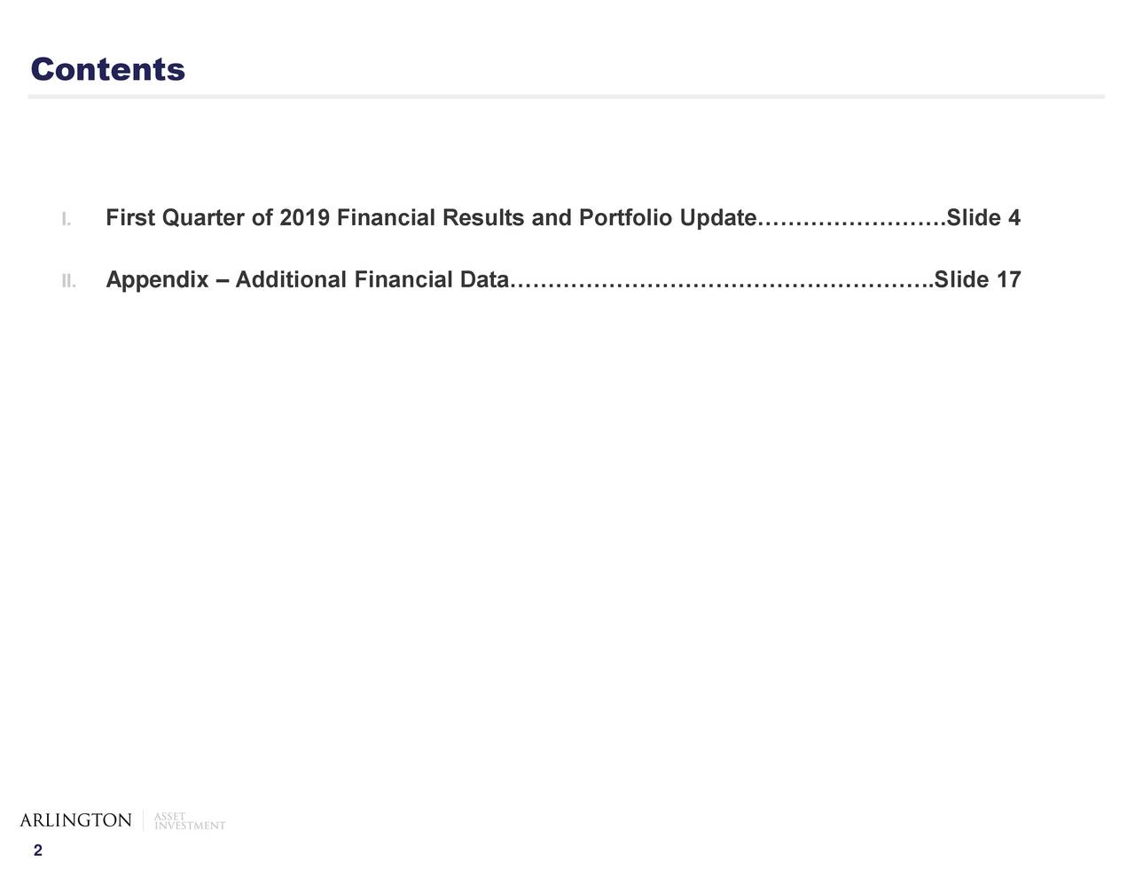 I. First Quarter of 2019 Financial Results and Portfolio Update…………………….Slide 4 II. Appendix – Additional Financial Data………………………………………………..Slide 17 2