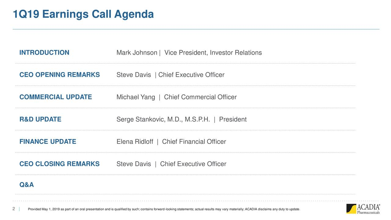 1Q19 Earnings Call Agenda