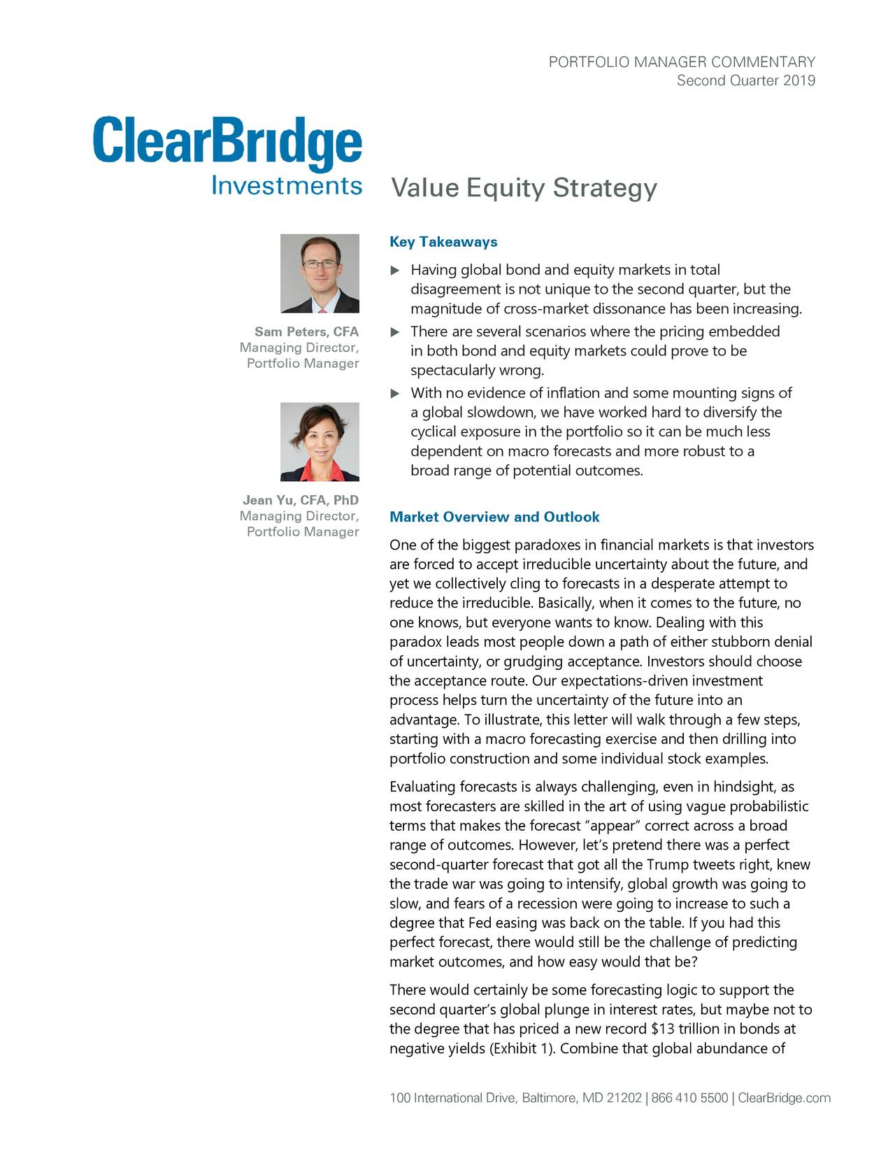 ClearBridge Value Equity Strategy Portfolio Manager Commentary Q2 2019