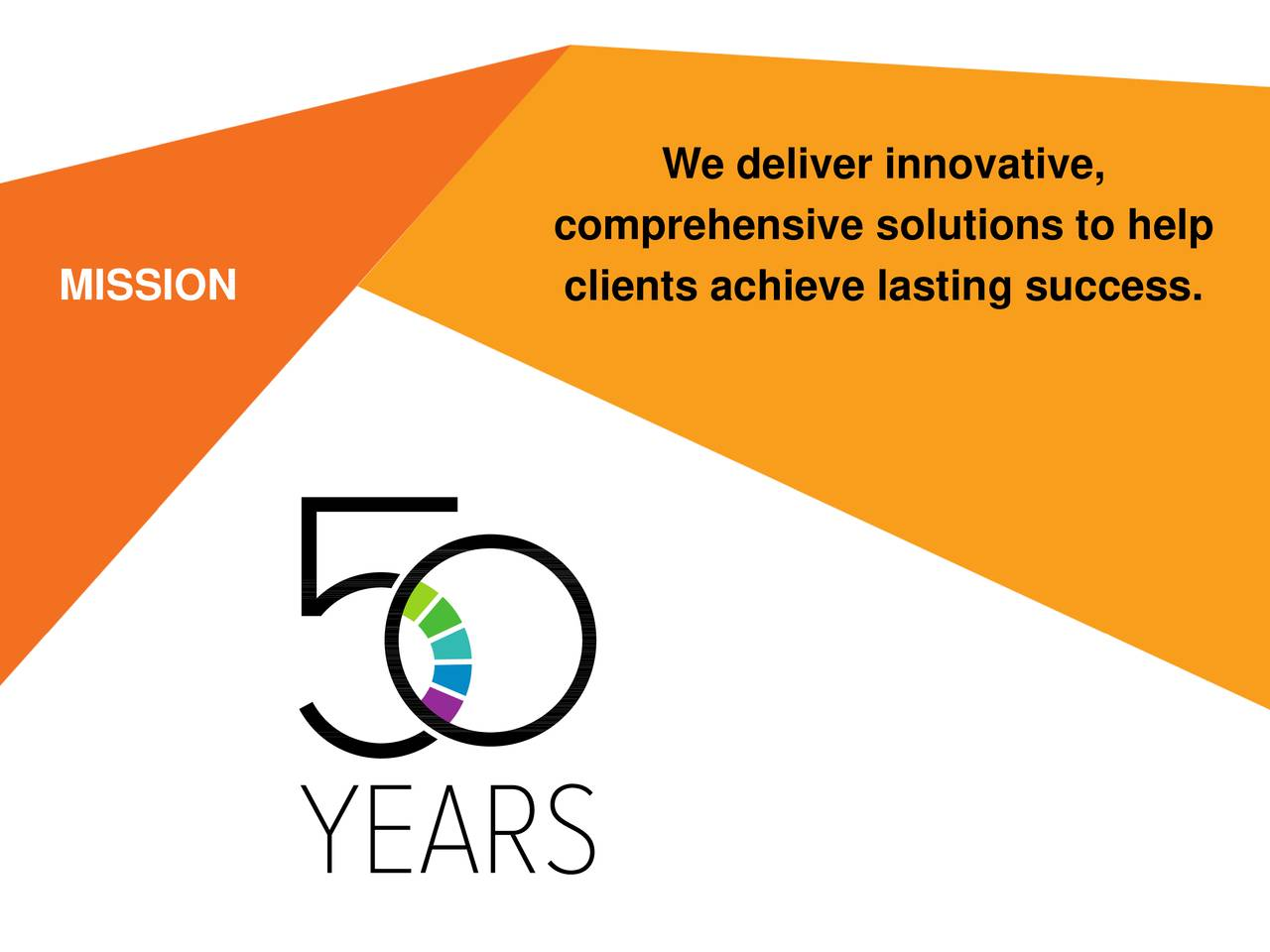 comprehensive solutions to help MISSION clients achieve lasting success. 2