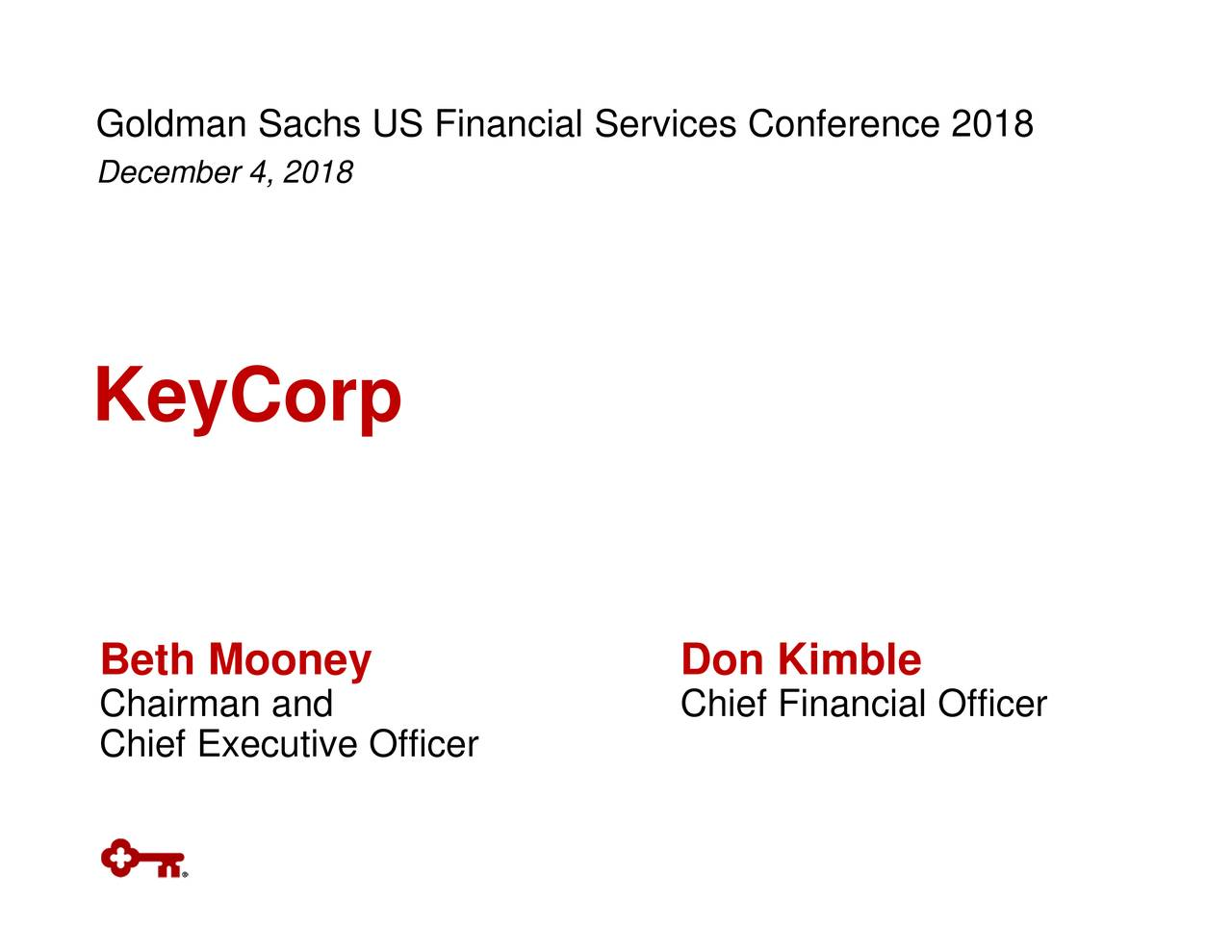 Golecanbea,20U8S Financial Services Conference 2018r KeyCorp