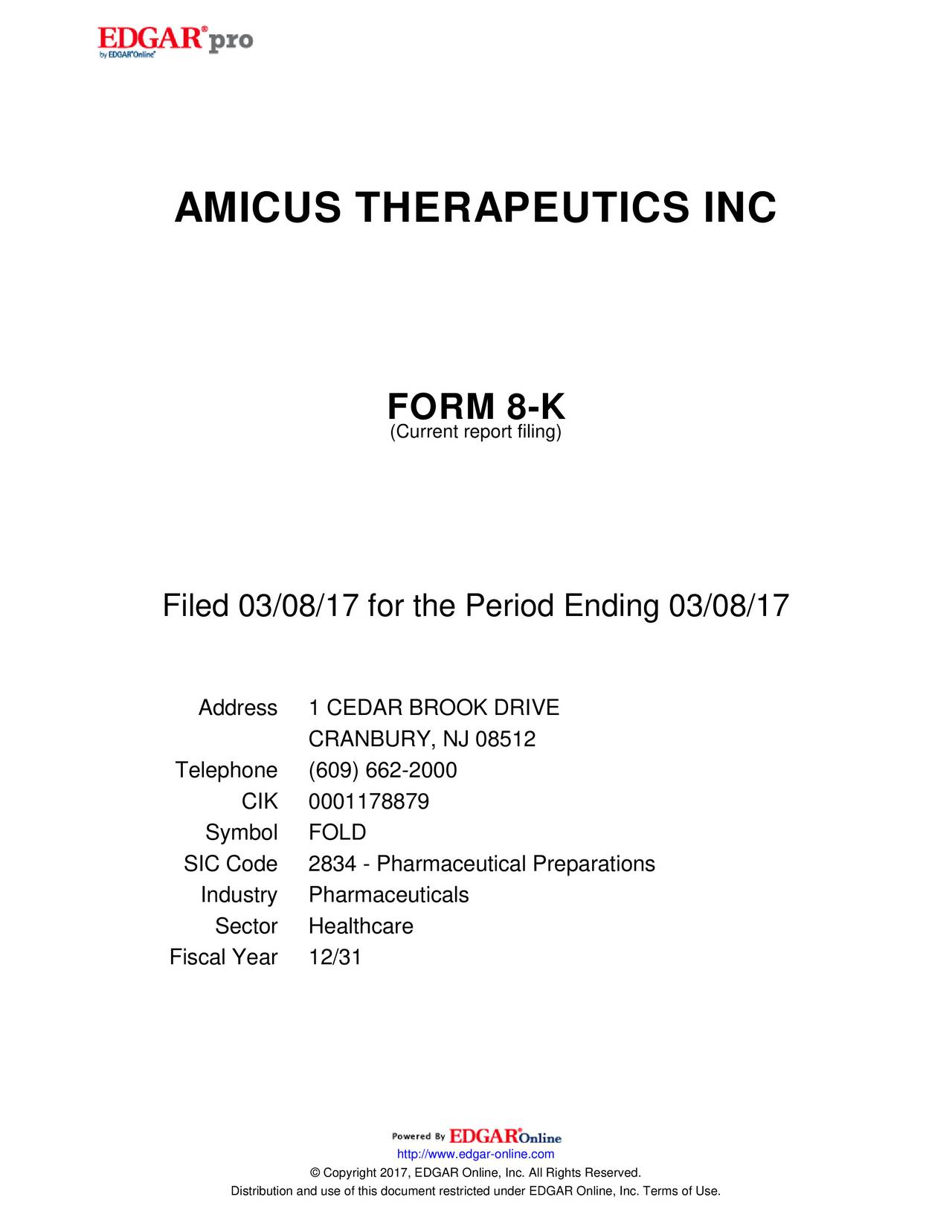 Amicus Therapeutics (FOLD) Presents At Cowen and Company 37th ...