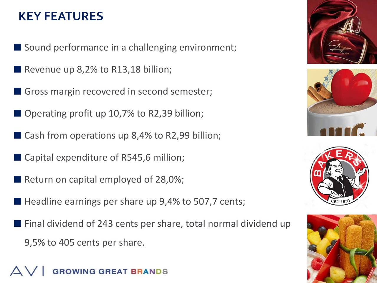 Sound performance in a challenging ;nvironment Revenue up 8,2% to R13,18 billion; Gross margin recovered in second semester; Operating profit up 10,7% to R2,39 billion; Cash from operations up 8,4% to R2,99 billion; Capital expenditure of R545,6 million; Return on capital employed of 28,0%; Headline earnings per share up 9,4% to 507,7 cents; Final dividend of 243 cents per share, total normal dividend up 9,5% to 405 cents per share.