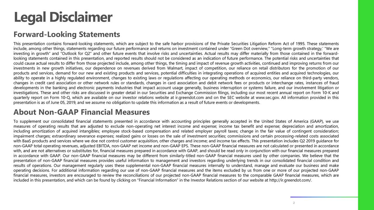 """Forward-Looking Statements This presentation contains forward-looking statements, which are subject to the safe harbor provisions of the Private Securities Litigation Reform Act of 1995. These statements include, among other things, statements regarding our future performance and returns on investment contained under """"Green Dot overview,"""" """"Long-term growth strategy,' """"We are investing in growth"""" and """"Outlook for Q2"""" and other future events that involve risks and uncertainties. Actual results may differ materially from those contained in the forward- looking statements contained in this presentation, and reported results should not be considered as an indication of future performance. The potential risks and uncertainties that could cause actual results to differ from those projected include, among other things, the timing and impact of revenue growth activities, continued and improving returns from our investments in new growth initiatives, our dependence on revenues derived from Walmart, impact of competition, our reliance on retail distributors for the promotion of our products and services, demand for our new and existing products and services, potential difficulties in integrating operations of acquired entities and acquired technologies, our ability to operate in a highly regulated environment, changes to existing laws or regulations affecting our operating methods or economics, our reliance on third-party vendors, changes in credit card association or other network rules or standards, changes in card association and debit network fees or products or interchange rates, instances of fraud developments in the banking and electronic payments industries that impact account usage generally, business interruption or systems failure, and our involvement litigation or investigations. These and other risks are discussed in greater detail in our Securities and Exchange Commission filings, including our most recent annual report on Form 10-K and quarterly report on Form 1"""