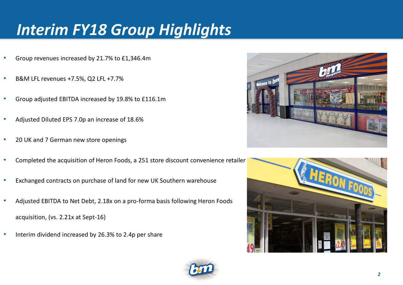 • Group revenues increased by 21.7% to £1,346.4m • B&M LFL revenues +7.5%, Q2 LFL +7.7% • Group adjusted EBITDA increased by 19.8% to £116.1m • Adjusted Diluted EPS 7.0p an increase of 18.6% • 20 UK and 7 German new store openings • Completed the acquisition of Heron Foods, a 251 store discount convenience retailer • Exchanged contracts on purchase of land for new UK Southern warehouse • Adjusted EBITDA to Net Debt, 2.18x on a pro-forma basis following Heron Foods acquisition, (vs. 2.21x at Sept-16) • Interim dividend increased by 26.3% to 2.4p per share Ref: 750493 2