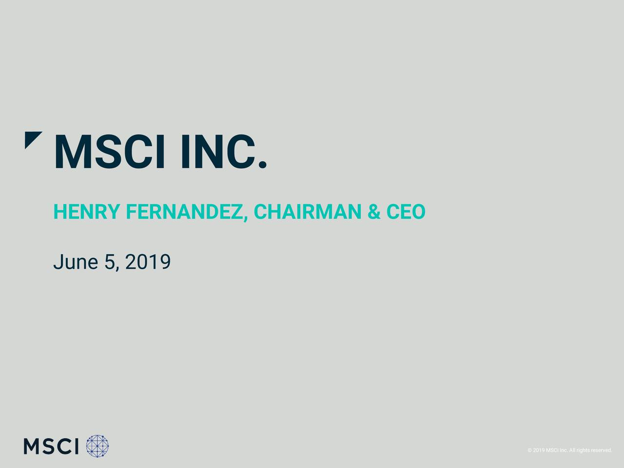 MSCI (MSCI) Presents At William Blair Growth Stock Conference - Slideshow