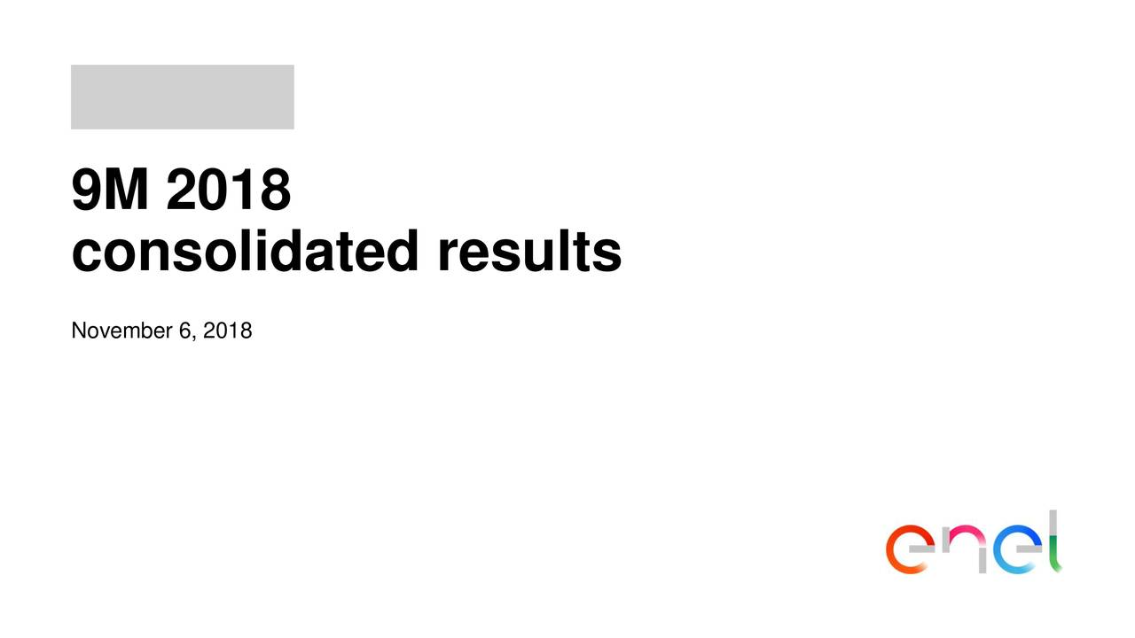 consolidated results November 6, 2018