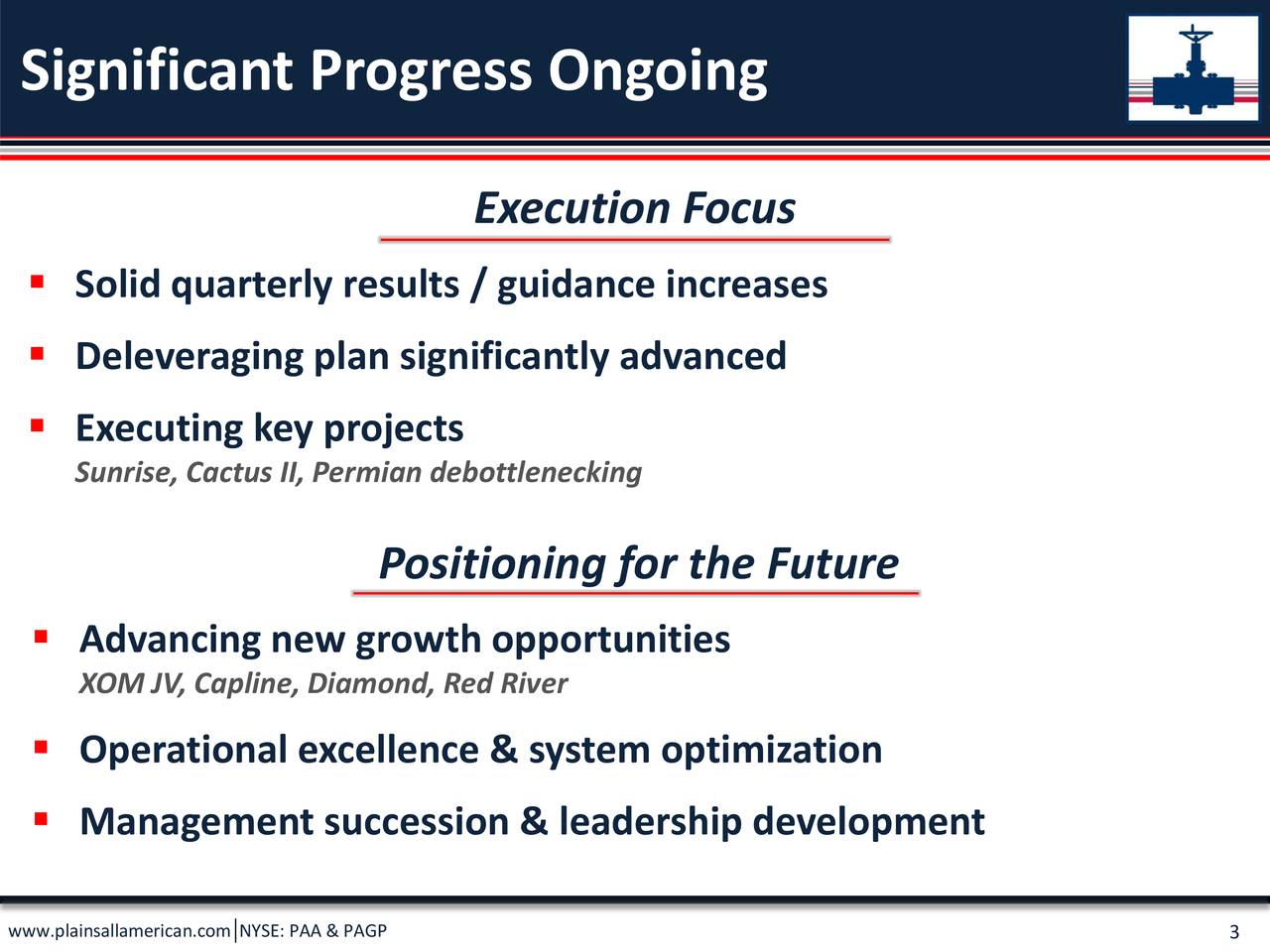  Reduced total debt >$1.8 B (reduced leverage ~1.5x) from 9/30/18  Closed >$1.5 billion in asset sales  Consistent quarterly operating and financial results  Multiple qtly guidance increases  Short-term S&L margin opportunity (additive to financial flexibility)  Placed Sunrise into early service 4Q18  Sanctioned Cactus II with construction advancing on schedule  Announced / advancing XOM JV project  Advancing additional capital efficient growth projects (Capline, Diamond & Red River expansions)  Completed successful CEO transition
