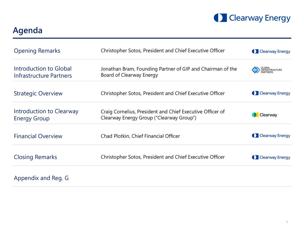 """Opening Remarks Christopher Sotos, President and Chief Executive Officer Introduction to Global Jonathan Bram, Founding Partner of GIP and Chairman of the Infrastructure Partners Board of Clearway Energy Strategic Overview Christopher Sotos, President and Chief Executive Officer Introduction to Clearway Craig Cornelius, President and Chief Executive Officer of Clearway Energy Group (""""Clearway Group"""") Energy Group Financial Overview Chad Plotkin, Chief Financial Officer Closing Remarks Christopher Sotos, President and Chief Executive Officer Appendix and Reg. G 3"""