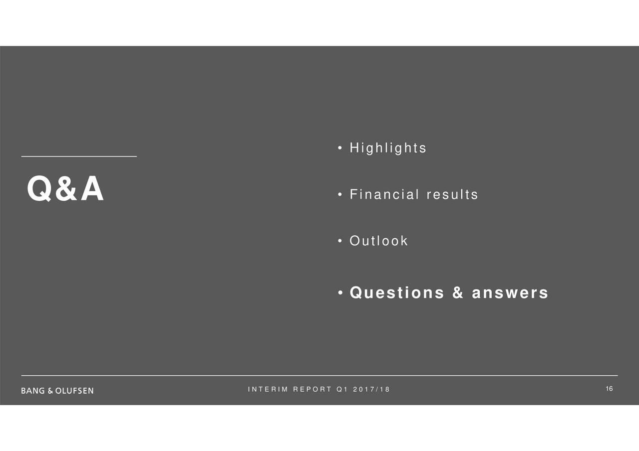 Bang & Olufsen ADR 2018 Q1 - Results - Earnings Call Slides - Bang & Olufsen  ADR (OTCMKTS:BGOUY)   Seeking Alpha