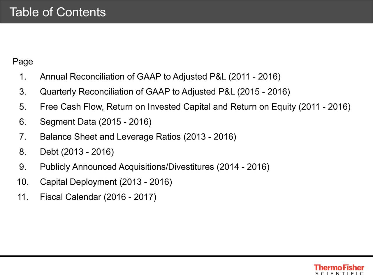 Page 1. Annual Reconciliation of GAAP to Adjusted P&L (2011 - 2016) 3. Quarterly Reconciliation of GAAP to Adjusted P&L (2015 - 2016) 5. Free Cash Flow, Return on Invested Capital and Return on Equity (2011 - 2016) 6. Segment Data (2015 - 2016) 7. Balance Sheet and Leverage Ratios (2013 - 2016) 8. Debt (2013 - 2016) 9. Publicly Announced Acquisitions/Divestitures (2014 - 2016) 10. Capital Deployment (2013 - 2016) 11. Fiscal Calendar (2016 - 2017)