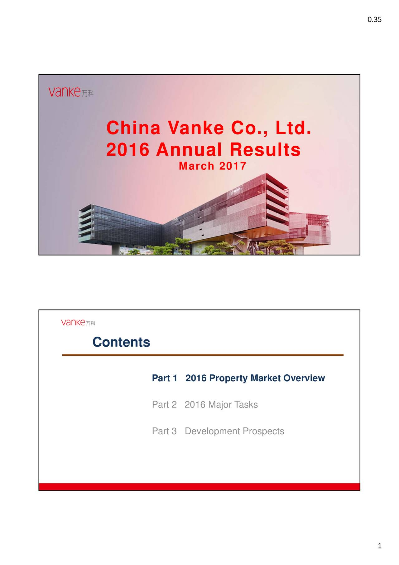 ChinaaVaanke Coo.,Ltd. 2016 AnnnuaalReesults March 2017 Contents Part 1 2016 Property Market Overview Part 2 2016 Major Tasks Part 3 Development Prospects 1