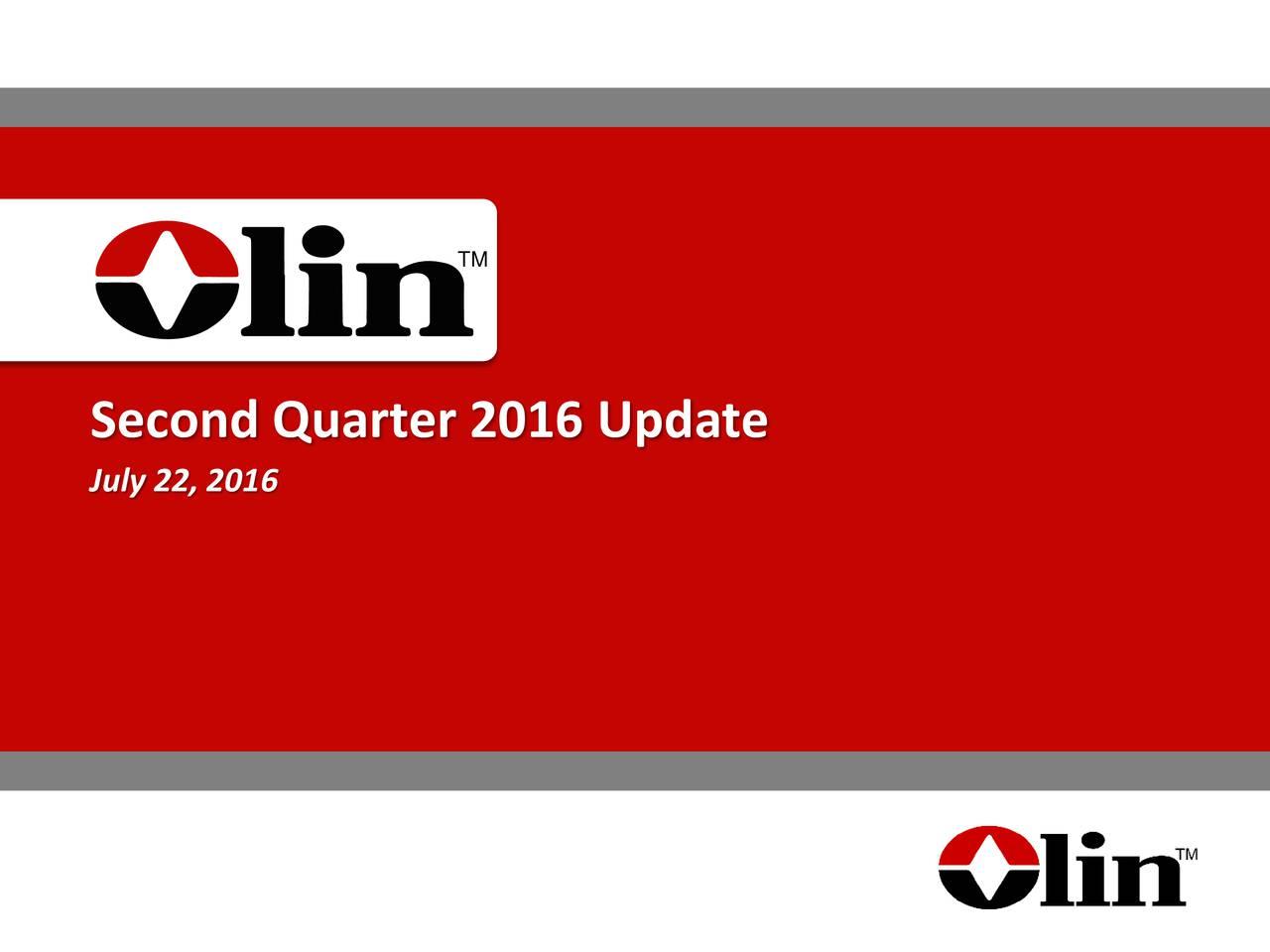 Second Quarter 2016 Update July 22, 2016