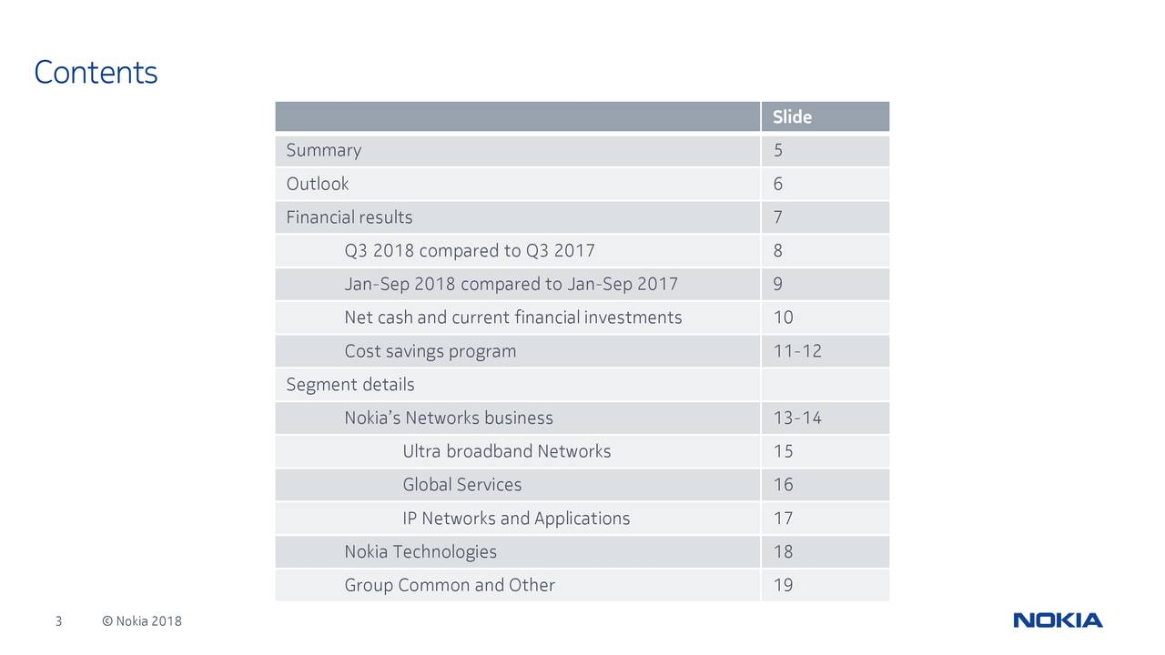 Slide Summary 5 Outlook 6 Financial results 7 Q3 2018 compared to Q3 2017 8 Jan-Sep 2018 compared to Jan-Sep 2017 9 Net cash and current financial investments 10 Cost savings program 11-12 Segment details Nokia's Networks business 13-14 Ultra broadband Networks 15 Global Services 16 IP Networks and Applications 17 Nokia Technologies 18 Group Common and Other 19 3 © Nokia 2018