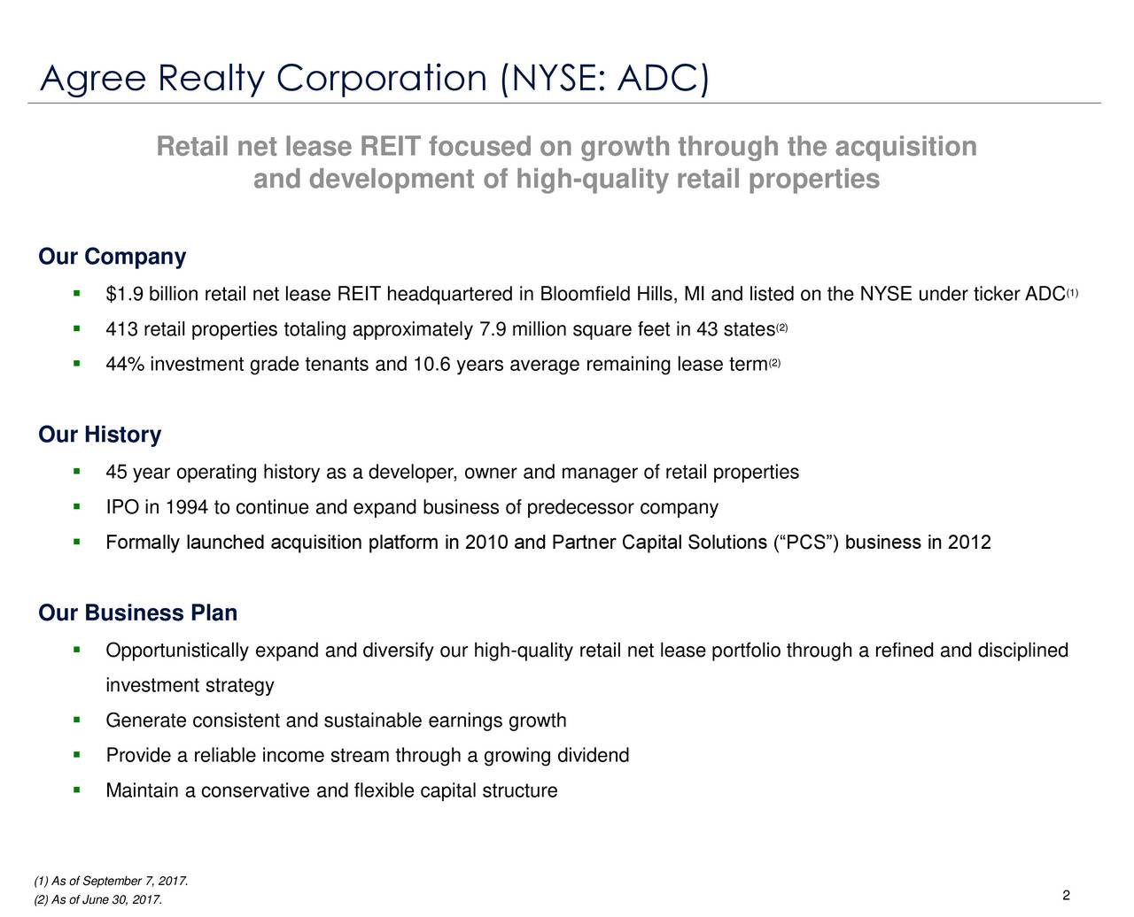 Agree realty corporation adc presents at wells fargo 6th annual beliefs retail net lease reit focused on growth through the acquisition and development of high quality platinumwayz