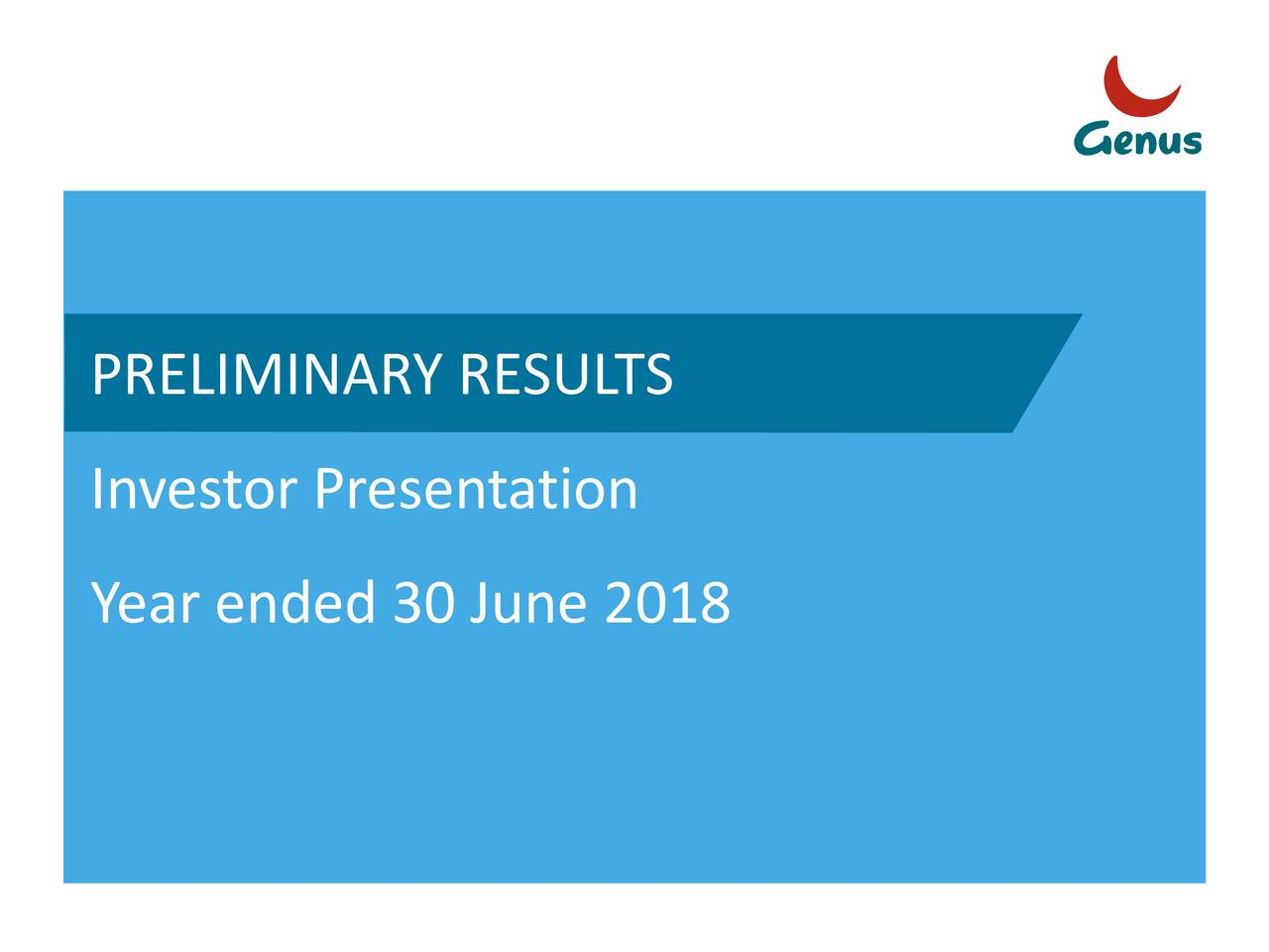 Investor Presentation Year ended 30 June 2018