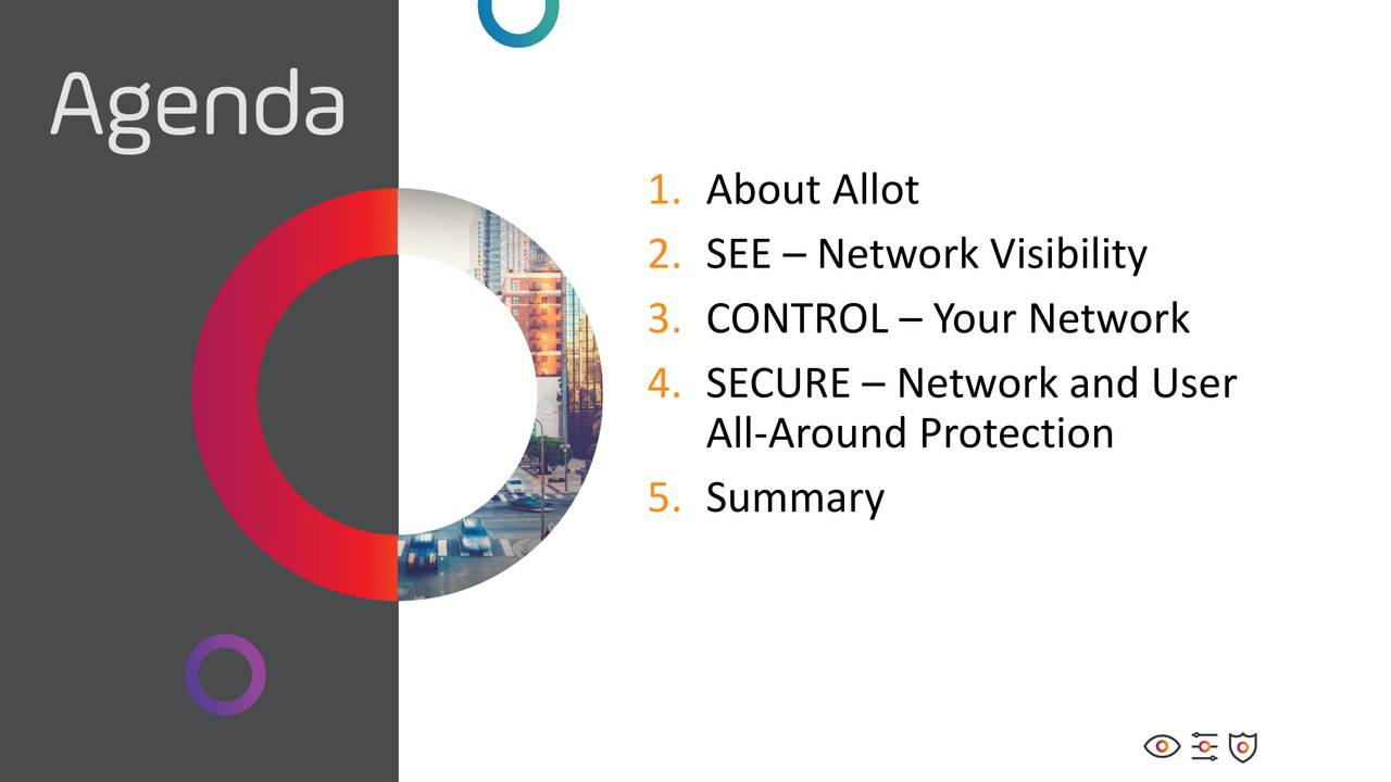 2. SEE – Network Visibility 3. CONTROL – Your Network 4. SECURE – Network and User All-Around Protection 5. Summary