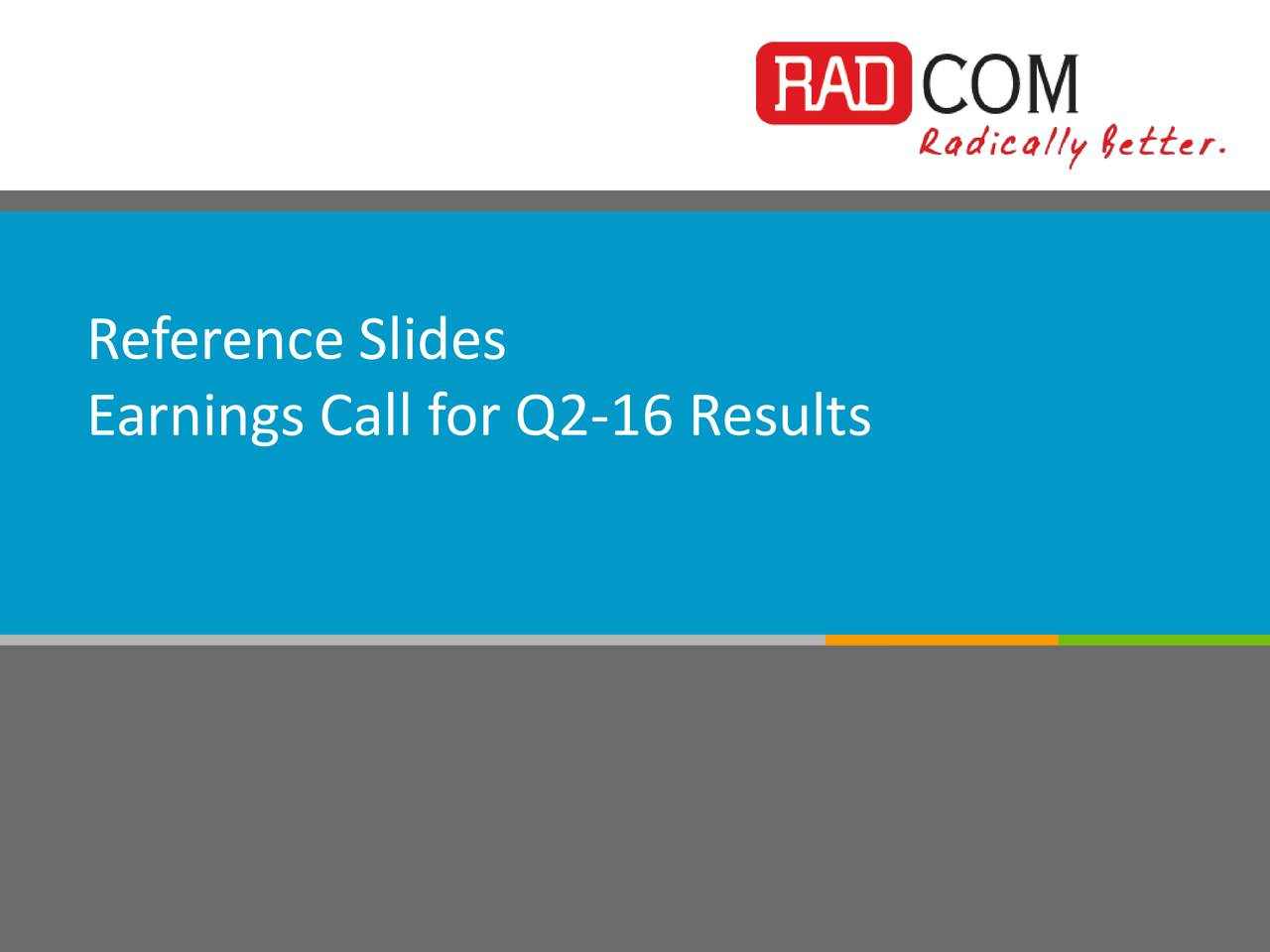 Earnings Call for Q2-16 Results