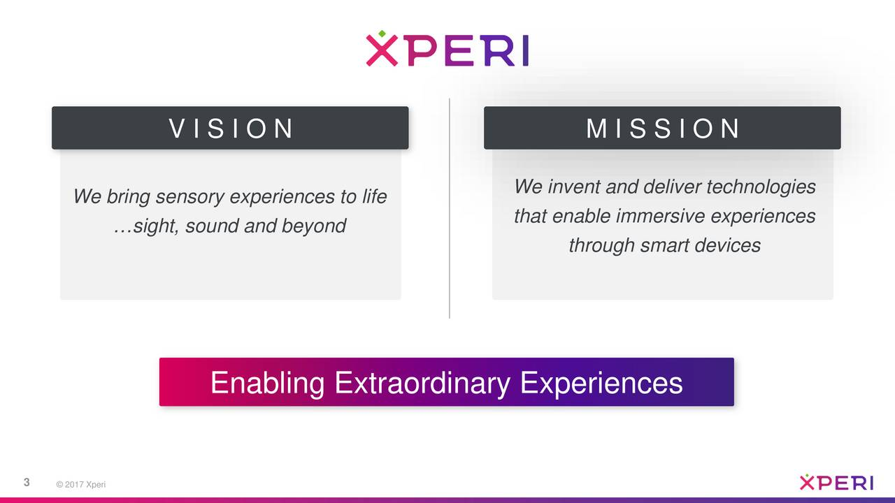 We bring sensory experiences to life We invent and deliver technologies that enable immersive experiences sight, sound and beyond through smart devices Enabling Extraordinary Experiences 3  2017 Xperi