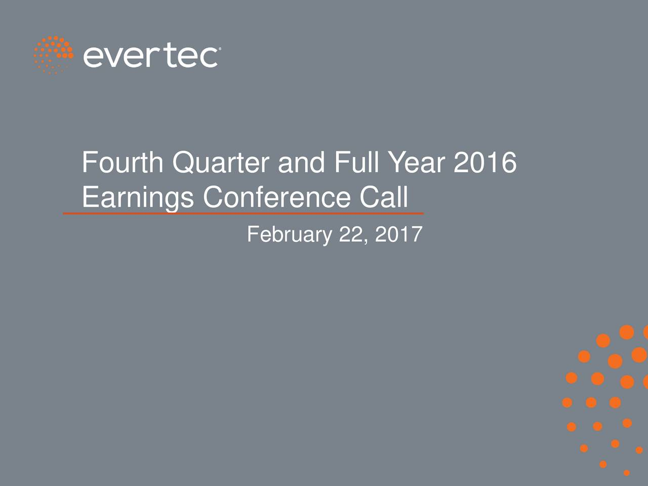 Earnings Conference Call February 22, 2017