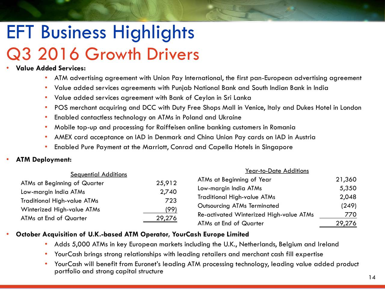 Earnings Disclaimer >> Euronet Worldwide, Inc. 2016 Q3 - Results - Earnings Call Slides - Euronet Worldwide, Inc ...