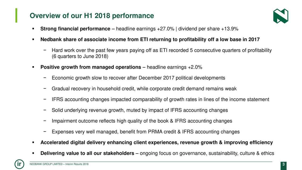  Strong financial performance – headline earnings +27.0% | dividend per share +13.9%  Nedbank share of associate income from ETI returning to profitability off a low base in 2017 − Hard work over the past few years paying off as ETI recorded 5 consecutive quarters of profitability (6 quarters to June 2018)  Positive growth from managed operations – headline earnings +2.0% − Economic growth slow to recover after December 2017 political developments − Gradual recovery in household credit, while corporate credit demand remains weak − IFRS accounting changes impacted comparability of growth rates in lines of the income statement − Solid underlying revenue growth, muted by impact of IFRS accounting changes − Impairment outcome reflects high quality of the book & IFRS accounting changes − Expenses very well managed, benefit from PRMA credit & IFRS accounting changes  Accelerated digital delivery enhancing client experiences, revenue growth & improving efficiency  Delivering value to all our stakeholders – ongoing focus on governance, sustainability, culture & ethics ir NEDBANK GROUP LIMITED – Interim Results 2018 3
