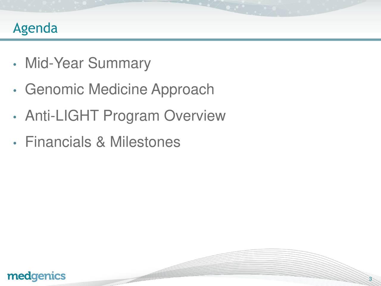 Mid-Year Summary Genomic Medicine Approach Anti-LIGHT Program Overview Financials & Milestones