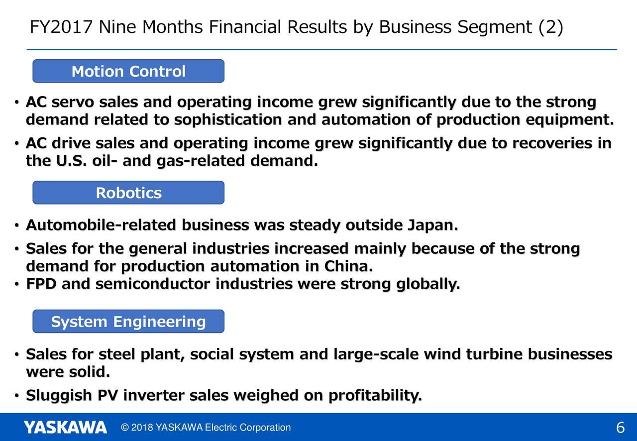 Yaskawa Electric Corp  ADR 2018 Q3 - Results - Earnings Call