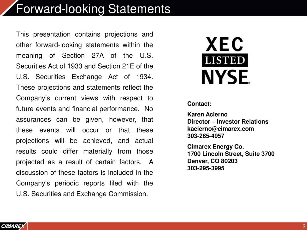 This presentation contains projections and other forward-looking statements within the meaning of Section 27A of the U.S. Securities Act of 1933 and Section 21E of the U.S. Securities Exchange Act of 1934. These projections and statements reflect the Company's current views with respect to Contact: future events and financial performance. No Karen Acierno assurances can be given, however, that Director – Investor Relations these events will occur or that these kacierno@cimarex.com 303-285-4957 projections will be achieved, and actual results could differ materially from those Cimarex Energy Co. 1700 Lincoln Street, Suite3700 projected as a result of certain factors. A Denver, CO 80203 303-295-3995 discussion of these factors is included in the Company's periodic reports filed with the U.S. Securities and Exchange Commission.