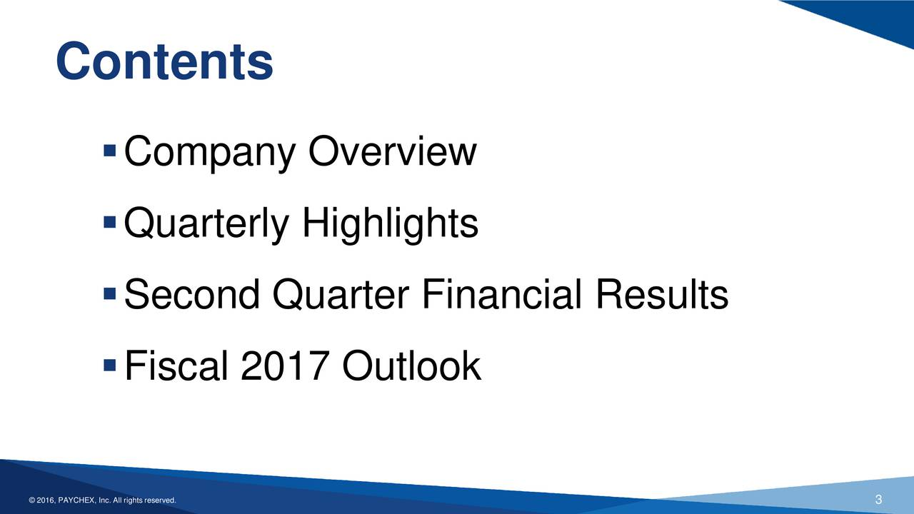 Company Overview Quarterly Highlights Second Quarter Financial Results Fiscal 2017 Outlook