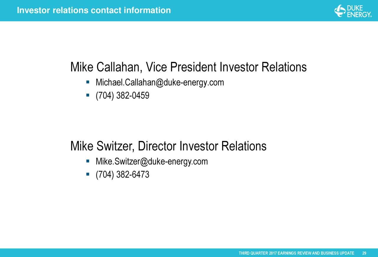 Duke Energy Stock Quote Duke Energy Corporation 2017 Q3  Results  Earnings Call Slides