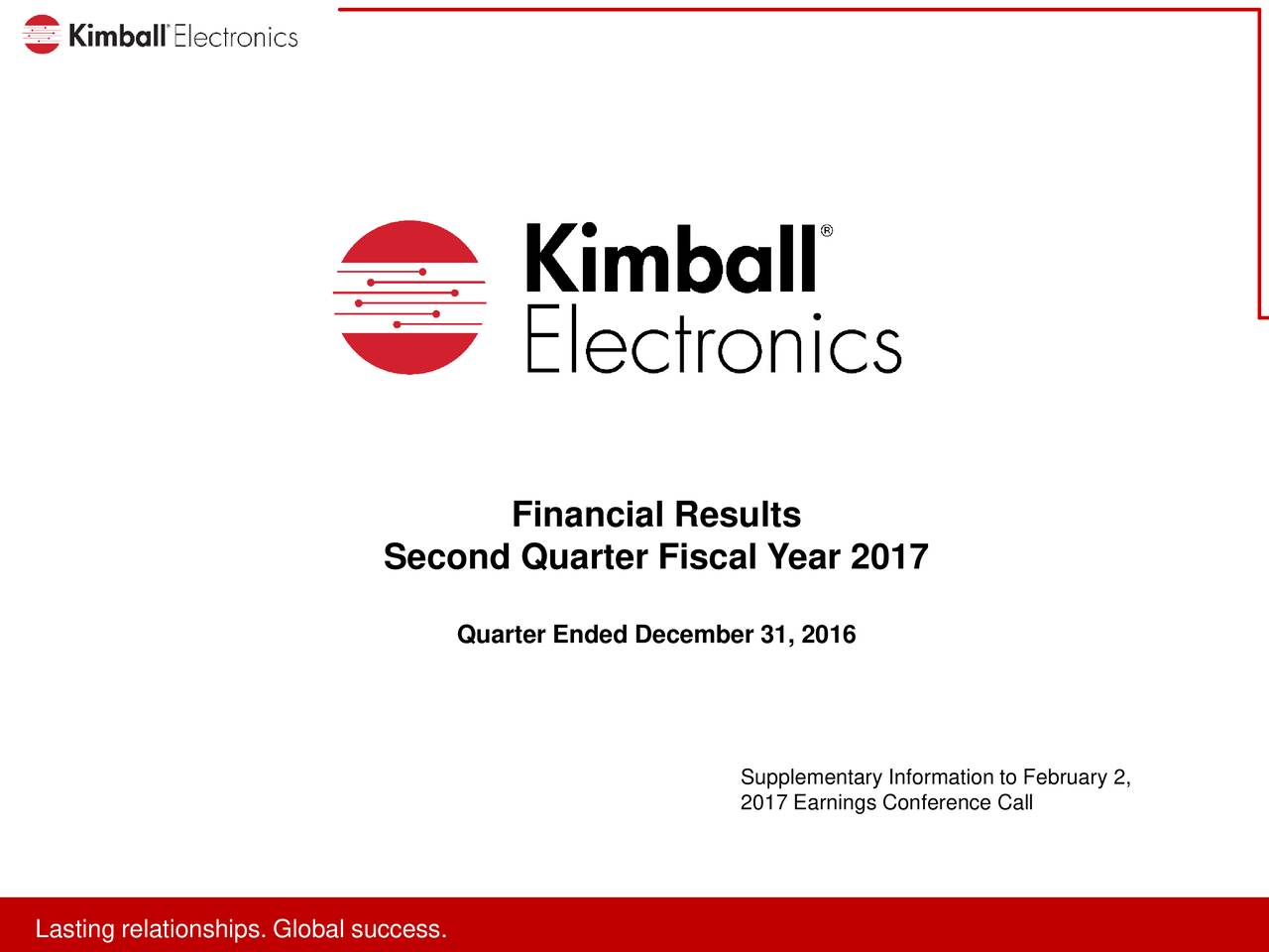 Second Quarter Fiscal Year 2017 Quarter Ended December 31, 2016 Supplementary Information to February 2, 2017 Earnings Conference Call LaLatitnreralitonhspip.. looblslsuccces.s.