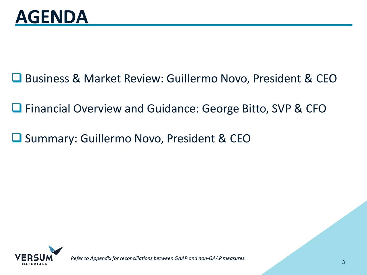 Business & Market Review: Guillermo Novo, President & CEO Financial Overview and Guidance: George Bitto, SVP & CFO Summary: Guillermo Novo, President & CEO Refer to Appendixfor reconciliationsbetweenGAAP a3d non-GAAPmeasures.