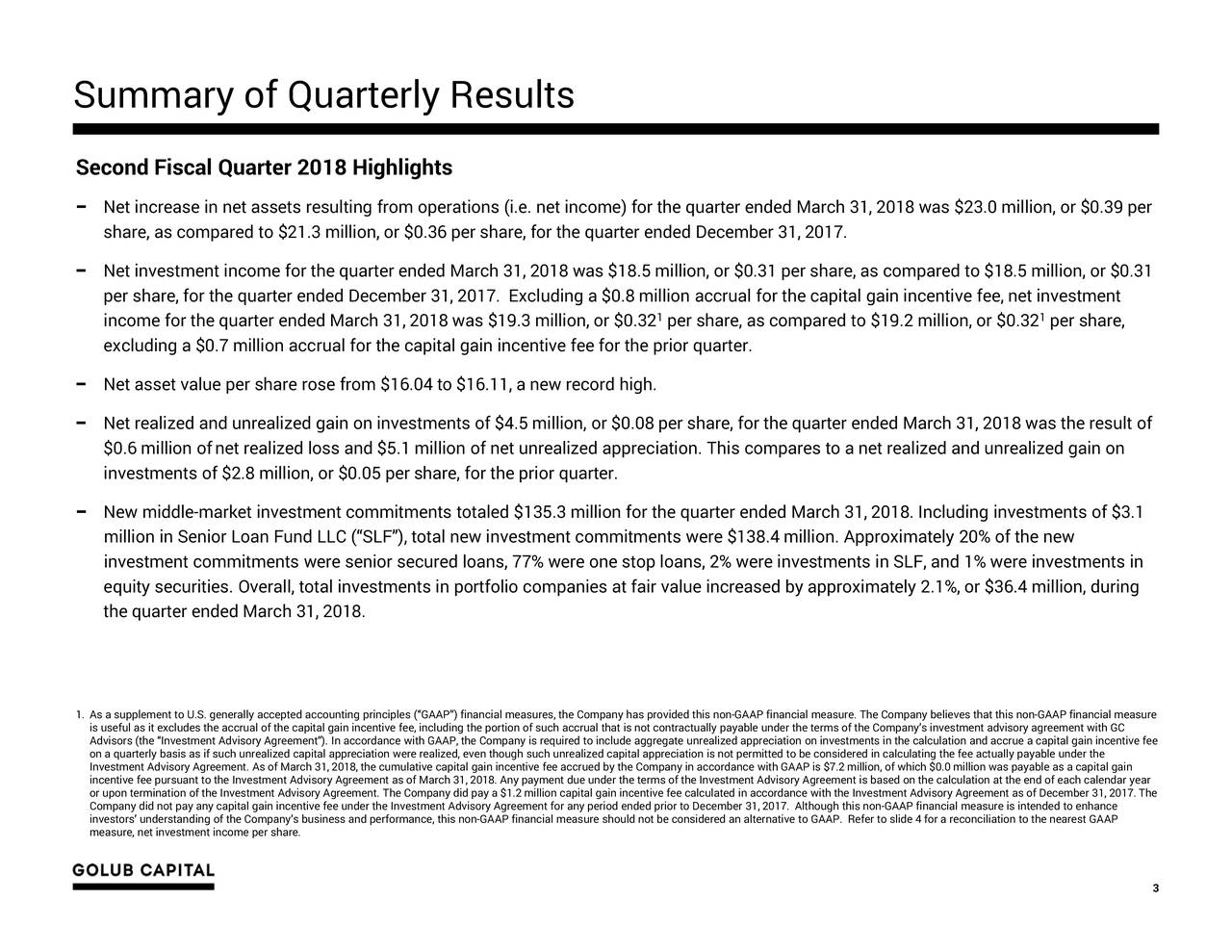 """Second Fiscal Quarter 2018 Highlights − Net increase in net assets resulting from operations (i.e. net income) for the quarter ended March 31, 2018 was $23.0 million, or $0.39 per share, as compared to $21.3 million, or $0.36 per share, for the quarter ended December 31, 2017. − Net investment income for the quarter ended March 31, 2018 was $18.5 million, or $0.31 per share, as compared to $18.5 million, or $0.31 per share, for the quarter ended December 31, 2017. Excluding a $0.8 million accrual for the capital gain incentive fee, net investment income for the quarter ended March 31, 2018 was $19.3 million, or $0.32 1per share, as compared to $19.2 million, or $0.32 per share, excluding a $0.7 million accrual for the capital gain incentive fee for the prior quarter. − Net asset value per share rose from $16.04 to $16.11, a new record high. − Net realized and unrealized gain on investments of $4.5 million, or $0.08 per share, for the quarter ended March 31, 2018 was the result of $0.6 million ofnet realized loss and $5.1 million of net unrealized appreciation. This compares to a net realized and unrealized gain on investments of $2.8 million, or $0.05 per share, for the prior quarter. − New middle-market investment commitments totaled $135.3 million for the quarter ended March 31, 2018. Including investments of $3.1 million in Senior Loan Fund LLC (""""SLF""""), total new investment commitments were $138.4 million. Approximately 20%of the new investment commitments were senior secured loans, 77% were one stop loans, 2% were investments in SLF, and 1% were investments in equity securities. Overall, total investments in portfolio companies at fair value increased by approximately 2.1%, or $36.4 million, during the quarter ended March 31, 2018. 1. As a supplement to U.S. generally accepted accounting principles (""""GAAP"""") financial measures, the Company has provided this non-GAAP financial measure. The Company believes that this non-GAAP financial measure is useful as it exclu"""