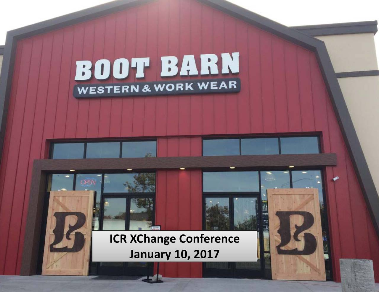 Email Alerts >> Boot Barn (BOOT) presents at 2017 ICR Conference - Boot Barn Holdings (NASDAQ:BOOT) | Seeking Alpha