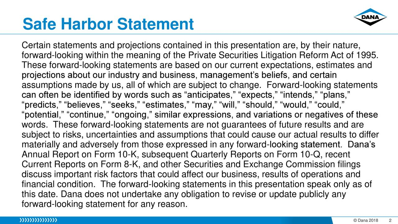 """Certain statements and projections contained in this presentation are, by their nature, forward-looking within the meaning of the Private Securities Litigation Reform Act of 1995. These forward-looking statements are based on our current expectations, estimates and projections about our industry and business, management's beliefs, and certain assumptions made by us, all of which are subject to change. Forward-looking statements can often be identified by words such as """"anticipates,"""" """"expects,"""" """"intends,"""" """"plans,"""" """"predicts,"""" """"believes,"""" """"seeks,"""" """"estimates,"""" """"may,"""" """"will,"""" """"should,"""" """"would,"""" """"could,"""" """"potential,"""" """"continue,"""" """"ongoing,"""" similar expressions, and variations or negatives of these words. These forward-looking statements are not guarantees of future results and are subject to risks, uncertainties and assumptions that could cause our actual results to differ materially and adversely from those expressed in any forward-looking statement. Dana's Annual Report on Form 10-K, subsequent Quarterly Reports on Form 10-Q, recent Current Reports on Form 8-K, and other Securities and Exchange Commission filings discuss important risk factors that could affect our business, results of operations and financial condition. The forward-looking statements in this presentation speak only as of this date. Dana does not undertake any obligation to revise or update publicly any forward-looking statement for any reason."""