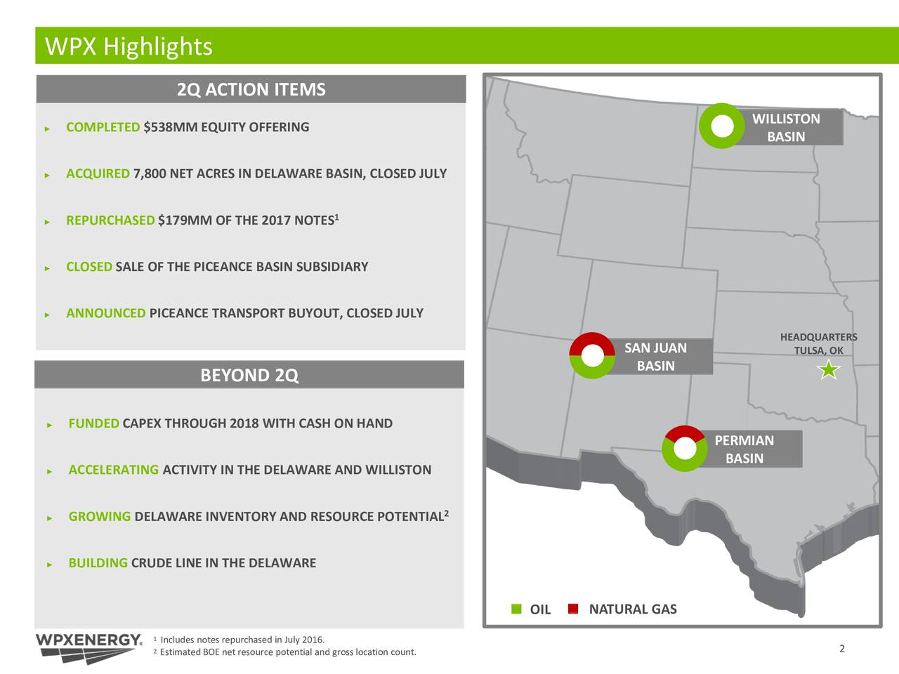 2Q ACTION ITEMS WILLISTON COMPLETED $538MM EQUITY OFFERING BASIN ACQUIRED 7,800 NET ACRES IN DELAWARE BASIN, CLOSED JULY REPURCHASED $179MM OF THE 2017 NOTES 1 CLOSED SALE OF THE PICEANCE BASIN SUBSIDIARY ANNOUNCED PICEANCE TRANSPORT BUYOUT, CLOSED JULY HEADQUARTERS SAN JUAN TULSA, OK BASIN BEYOND 2Q FUNDED CAPEX THROUGH 2018 WITH CASH ON HAND PERMIAN BASIN ACCELERATING ACTIVITY IN THE DELAWARE AND WILLISTON GROWING DELAWARE INVENTORY AND RESOURCE POTENTIAL 2 BUILDING CRUDE LINE IN THE DELAWARE OIL NATURAL GAS 1Includes notes repurchased in July 2016. 2Estimated BOE net resource potential and gross location count. 2